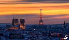 Two old ladies (A.G. Photographe) Tags: longexposure sunset paris france french nikon europe eiffeltower notredame toureiffel ag capitale ni