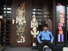 SABAI SPA (RubyGoes) Tags: india man securityguard thai mumbai bandra linkingrd