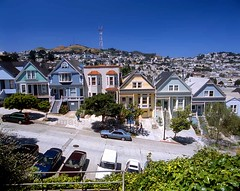 Upper Castro, Row of Victorian Houses (Vern Krutein) Tags: sanfrancisco california city travel houses usa building history home architecture colorful landmark structure historic american archives housing ornate fabulous residential scenics paintedvictorian rowofvictorianhouses