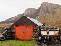 Staffin Slipway (Paul Acarnley) Tags: door cliff colour boat hill shed slipway tyre
