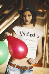 Weirdo (milanvopalensky) Tags: red portrait green girl face fashion canon hair balloons 50mm model eyes czech balloon style hut depression weirdo 2014 pullandbear 600d
