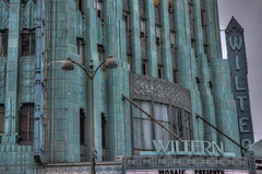 Deco Fortress On Wilshire (MPnormaleye) Tags: city urban green art classic sign architecture marquee la theatre cities surreal wideangle retro neighborhood utata weathered deco emerald hdr wiltern chevrons spandrels