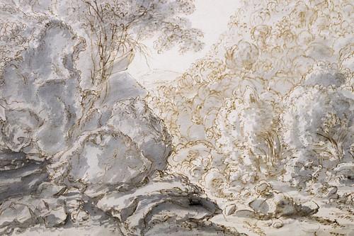 """Gillis Neyts (Overijsse ? av. 1626 - Anvers ? 1687 ou ap.) """"Paysage"""" dét. (plume et encre brune, lavis gris) musée de Grenoble (Isère, France)"""