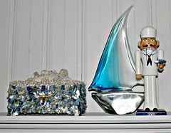 nautical - the sea (YourCastlesDecor) Tags: beach glass sailboat teal pearls collection nutcracker heroes sailor nautical abalone murano beachhouse jewelrybox beachcottage beachdecor