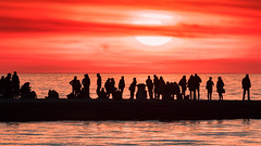 People silhouettes on the jetty (Massimo Buccolieri) Tags: sonnenuntergang sunset trieste coucherdusoleil lapuestadelsol ocean people pôrdosol seascape silhouette solnedgang tramonto