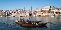 View of Oporto across the Douro River (Trouvaille Blue) Tags: europe portugal oporto porto boats douro river casks waterfront trouvailleblue vilanovadegaia
