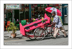 Home Removals (Fermat48) Tags: trishaw removals umbrella chairs georgetown penang malaysia canon eos 7dmarkii flowers flags takeaway carryout benchseat