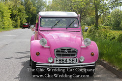Rosie in the country-13 (magicalnights) Tags: pink wedding car derbyshire 2cv chic weddingcar shabbychicwedding sexyweddingcar 2cvweddingcar derbyweddingcars