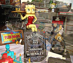 Betty & Jack & Elvis (DannyAbe) Tags: shop elvis whiskey rochester antiques storewindow jackdaniels bettyboop collectibles