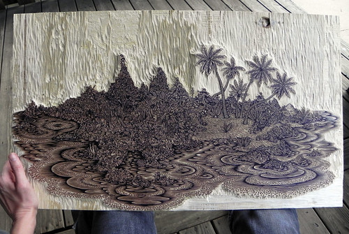 """DESERT ISLAND"" Woodcut Print by Tugboat Printshop"