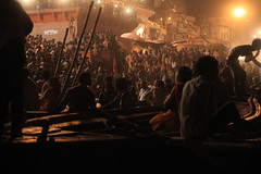 (lethologically) Tags: people india water festival river evening boat events religion event varanasi ritual hindu hinduism puja durgapuja ganges riverbanks northindia incredibleindia