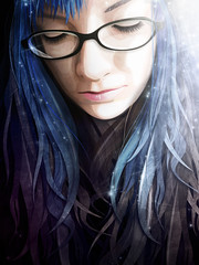 Locks of Blue (Robert Cornelius Photography) Tags: lighting blue light portrait woman mist girl face fog lady female illustration mouth hair nose lights glasses eyes long pretty lips locks flowing vectors vector etherial vectored