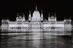 Flood in Budapest - 2013 (Laszlo_Gerencser) Tags: bw reflection film water night analog zeiss flood pentax budapest parliament xp2 400 spotmatic analogue asa parlament ilford pancolar