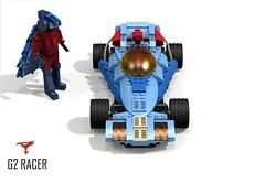 G2 Racer - Battle of the Planets - 1978 (Gatchaman 1972 - Japan) (lego911) Tags: auto jason anime phoenix car model lego render cartoon animation g2 gforce challenge cad battleoftheplanets racer lugnuts 68 povray moc ldd miniland abakersdozen lego911