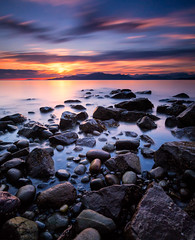 Acadia Beach Long Exposure (Alexis Birkill Photography) Tags: longexposure sunset canada colour beach vancouver clouds rocks britishcolumbia acadia 10stop leefilters bigstopper