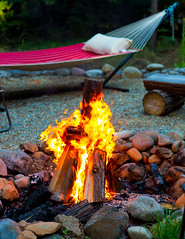 Campfire (melfoody) Tags: wood camping nature bench outdoors fire evening warm logs explore flame hammock heat campground firepit 825 explored beautifulmemoriesofsmoresandgoodfriends