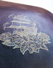 Laminated Fabric Tray (Urban Threads) Tags: mod ship fabric tray embroidered podge