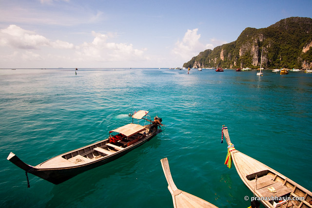 Boats In Blue Water, Phi Phi, Thailand
