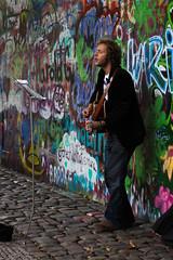 Street Performer at the John Lennon Wall, Prague (Molly Voigt) Tags: street art canon john photography 50mm republic czech prague guitar praha czechrepublic streetperformer lennon per