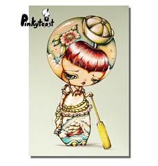 Ship at Sea-Kokeshi Sailor-pinkytoast painting (pinkytoast) Tags: eye art girl tattoo vintage painting big doll outsider flash eyed sailor nautical kokeshi lowbrow pinkytoast