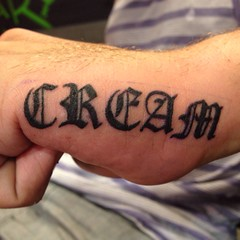 wu-tang clan cream hand tattoo by wes fortier