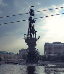 A bad picture of an ugly statue (Yvon from Ottawa) Tags: columbus monument statue river island russia moscow ugliest cables wires moskva peterthegreat