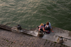Together by the River (dirac3000) Tags: above paris france green texture love seine composition river couple diagonal romantic