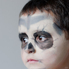 hallowen is coming (idni . idniama) Tags: boy party black face skull 50mm nikon serious painted browneyes gettyimages hallowen paintedface 2013 idni gettyimagesiberiaq3 idniphotography
