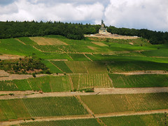 Niederwalddenkmal high above the Vineyards (Batikart) Tags: travel blue trees summer vacation sky people sun holiday mountains color colour green history monument nature lines weather clouds forest canon germany landscape geotagged deutschland freedom europa europe peace hessen hiking sommer urlaub natur felder wolken tranquility aerialview sunny tourists unescoworldheritagesite berge adventure vineyards fields recreation walls geology relaxation ursula landschaft bushes wandern ruedesheim rdesheim reise sander hesse denkmal mauern geschichte geologie linien niederwald middlerhine mittelrhein 100faves 2013 viewonblack rhinegorge batikart canonpowershotg11 201311 niederwaldddenkmal