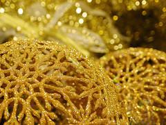 Glitter Dance (mintukka) Tags: christmas xmas glitter festive golden shiny bokeh ornament christmasballs sparkly happines