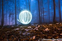 Light Spheres (christian speck) Tags: trees light lightpainting fog night forest 35mm outdoors schweiz switzerland suisse sony lausanne arbres nuit foret lumieres sauvabelin rx1 bruyard