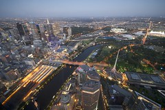 Melbourne CBD and the Yarra river as seen from the Eureka Tower