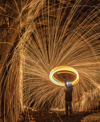 The Lord of the Rings (NikonJim) Tags: abandoned train fire tunnel fisheye burn d300 steelwool 105mm wirewool 105mmf28dmicro nikonjim
