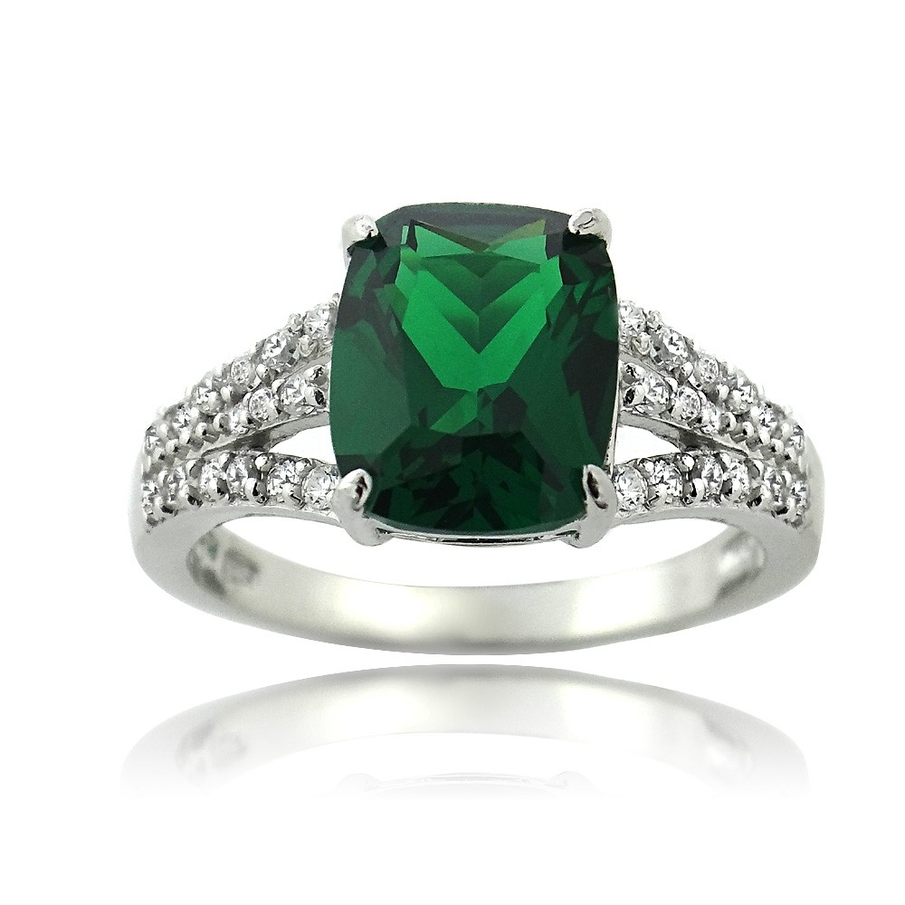 925 silver created emerald cz rectangle ring