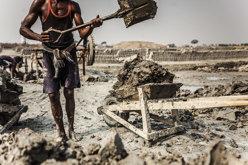 A brick maker in action, Khulna, Bangladesh. Photo by Felix Clay/Duckrabbit.