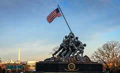 Marine Corps War Memorial (Iwo Jima Memorial) with Washington DC in background - Arlington VA (mbell1975) Tags: world park sunset 2 two sculpture usa monument statue usmc skyline arlington virginia us dc washington marine memorial war with unitedstates background flag military capital capitol american corps va dome lincoln ww2 rosslyn parc flagge iwo jima pwpartlycloudy