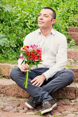 Man waiting woman (Oxana Denezhkina) Tags: wedding red summer woman man flower male love beach girl beautiful waiting couple honeymoon day adult outdoor young marriage romance relationship gift dating surprise wait valentines romantic bouquet concept date proposal propose