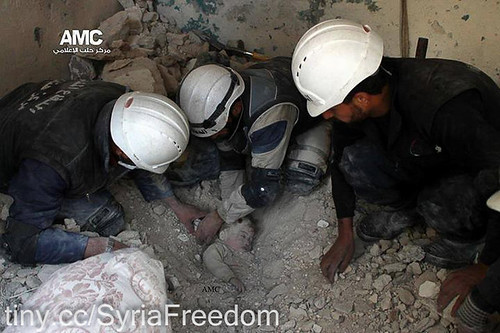 From flickr.com: White Helmets, real or staged? {MID-198729}