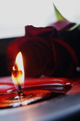 Flame and Rose (The Night is More Colourful) Tags: red rose fire perfect candle flame wax