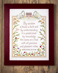 By Wisdom - Proverbs Embroidery (Simply Vintagegirl) Tags: bird birds pattern handmade embroidery sewing crafts craft sew bible handiwork clementine decor scripture proverb verse proverbs redwork embroider godsword embroiderypattern clementinepatterns clementinepatternco bywisdomahouseisbuilt
