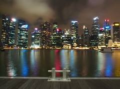 SkyLine (Edel_Yong) Tags: longexposure reflection skyline night singapore olympus cbd