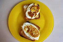 (SofiDofi) Tags: two home kitchen yellow oregon portland lunch outdoors march colorful yum duo plate eggs fried iatethis newhometown popofcolor spring2014