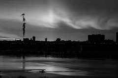 Sunset on the Hudson. (ravalli1) Tags: nyc sunset blackandwhite newyork river nikon manhattan hudson