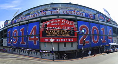 Wrigley Field in May (Lucyrk in LA) Tags: people signs chicago sports field sign walking outside outdoors person photo illinois team concert baseball walk running run il fisheye announcement clark runners cubs wrigleyfield win wrigley lose addison runner effect chicagocubs wrigleyville chicagoland mlb chicagoist blakeshelton maybenextyear