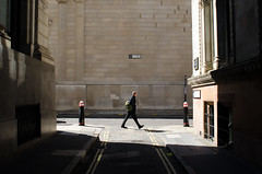 Lothbury (Bertie Oakes) Tags: street city light shadow man london lines streetphotography diagonal cityoflondon sloping striding classicalcomposition nikond7000