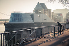The Fisherman who loved chocolate / Le pêcheur qui aimait le chocolat... (Gilderic Photography) Tags: cologne koln germany rhine rhin river fleuve morning winter light fisherman museum architecture canon 500d gilderic city
