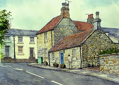 Late afternoon, Castle Terrace, Warkworth (jeff smith 55) Tags: northumberland warkworth cottages watercolour mixed media