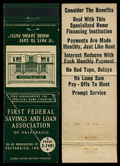 First Federal Savings and Loan Association in Valparaiso, Indiana - Matchcover (Shook Photos) Tags: match matches matchcover matchcovers matchbook matchbooks smoke smoking promotion advertise advertising firstfederal firstfederalsavingsandloan firstfederalsavingsandloanassociation financialinstitution finance financing valparaisoindiana valparaiso indiana portercounty promotional