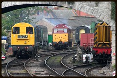 20142 31466 08436  Swanage  10-05-13 (Gray Callaway) Tags: preserved swanage 20142 lightengine class31 brblue class20 stabled 31466