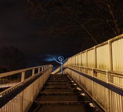 light5 (emmacobb123) Tags: bridge blue light sky man reflection painting drawing steps stick